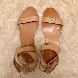 BCBGMAXAZRIA Beige Criss-Cross Sandals